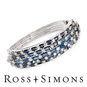 C. 1970 Vintage 25.00ct t.w. Sapphire, 6.00ct t.w. Diamond Bangle Bracelet. 7