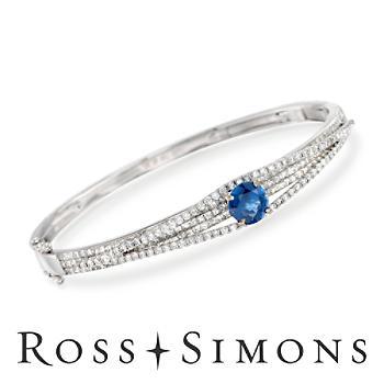 C. 2000 Vintage 1.50ct Sapphire, 2.87ct t.w. Diamond Bangle Bracelet. 6.5