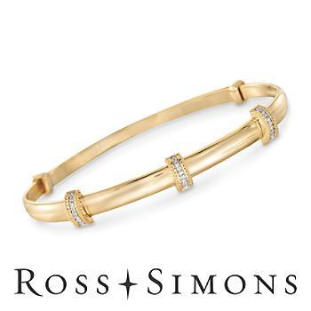 14kt Gold Over Silver Station Bangle Bracelet, Diamond Accents