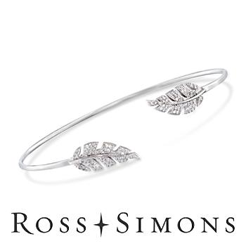 .43 ct. t.w. CZ Leaf Cuff Bracelet in Sterling Silver. 7.5