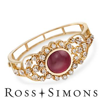 C. 1880/1960 Vintage 17.00ct Rhodolite Garnet, 6.50ct t.w. Diamond Bracelet. 7.5