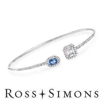 .60ct Sapphire, 1.03ct t.w. Diamond Cuff Bracelet in Gold. 7.5