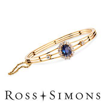 C. 1900 Vintage 5.00ct Sapphire, 1.15ct t.w. Diamond Bangle Bracelet. 7