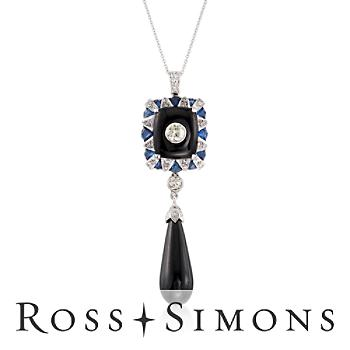 C. 2000 Vintage Black Onyx, .80ct t.w. Sapphire Pendant Necklace, Diamonds i..