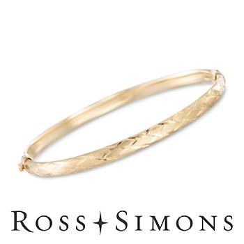 14kt Yellow Gold Crisscross Bangle Bracelet