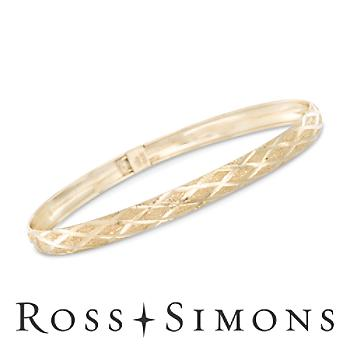 14kt Yellow Gold Crisscross Pattern Bangle Bracelet. 8