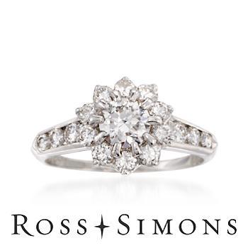 C. 1980 Vintage 1.60ct t.w. Diamond Floral Ring, Platinum. Size 7.5