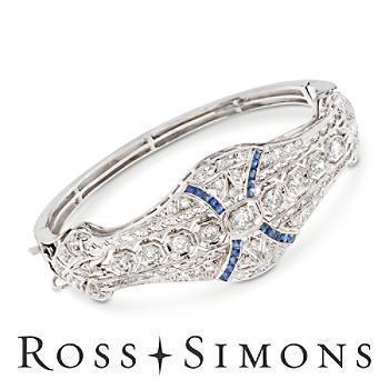 C. 1960 Vintage 2.80ct t.w. Diamond, .60ct t.w. Synthetic Sapphire Bracelet, Gold. 7