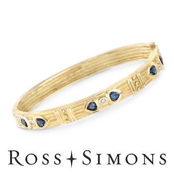 C. 1990 Vintage .90ct t.w. Sapphire, .10ct t.w. Diamond Heart Bangle Bracele..
