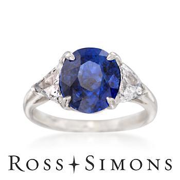 C. 1990 Vintage 2.90ct Sapphire, .90ct t.w. Diamond Ring. Size 7.75