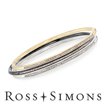 .30ct t.w. Diamond Jewelry Set: Three Bangle Bracelets in Tri-Colored Stainl..
