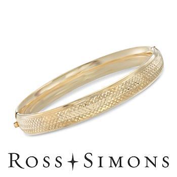 14kt Gold Over Silver Argyle Pattern Bangle Bracelet. 7.5