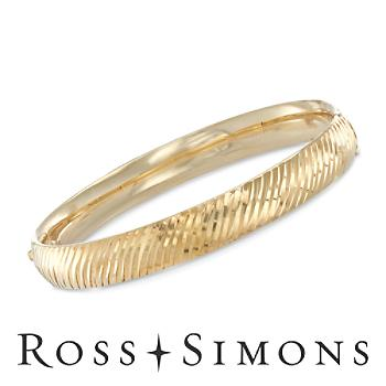 14kt Gold Over Silver Diagonal Stripe Bangle Bracelet. 7.5