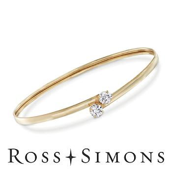 1.00 ct. t.w. CZ Bypass Bangle Bracelet in 14kt Yellow Gold. 7