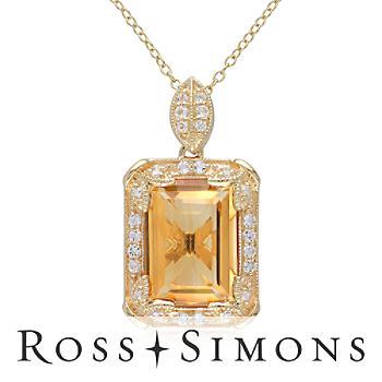 6.00ct Citrine, .44ct t.w. White Topaz Necklace, Diamonds Over Sterling. 18