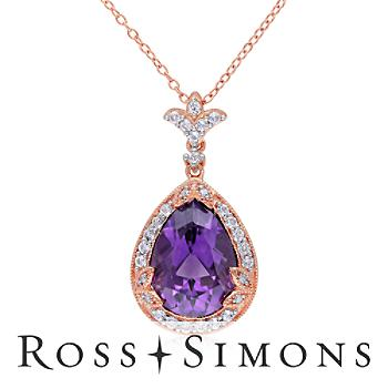 4.50ct Amethyst, .70ct t.w. White Topaz Necklace, Diamonds Over Sterling. 18