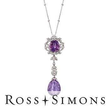 C. 1990 Vintage 30.00ct t.w. Amethyst Drop Necklace, 1.20ct t.w. Diamonds. 16
