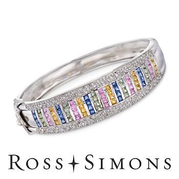 C. 1990 Vintage 5.00ct t.w. Multicolored Sapphire, 1.00ct t.w. Diamond Bangl..