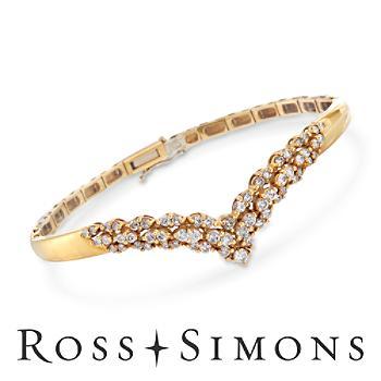 C. 1980 Vintage 1.65ct t.w. Diamond V Bangle Bracelet in Gold. 7