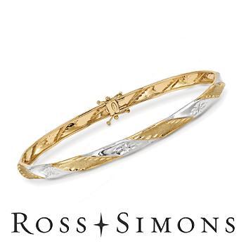 Gold Diamond-Cut, Polished Twist Bangle Bracelet. 8