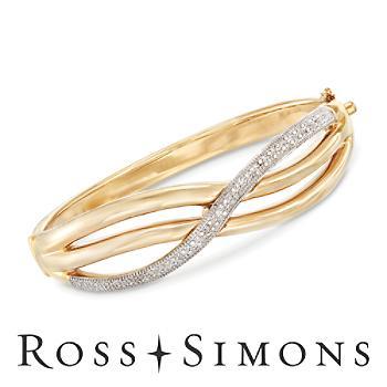 .21ct t.w. Diamond Sash Bangle Bracelet in 14kt Yellow Gold. 7.5