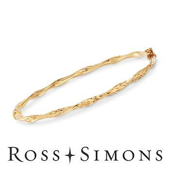 Italian Gold Diamond-Cut, Twisted Bangle Bracelet. 7.5