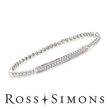 1.00ct t.w. Pave Diamond Beaded Bangle Bracelet in Gold. 7.5