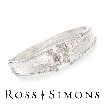 .15 ct. t.w. Diamond Cluster Bangle Bracelet in Sterling Silver