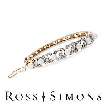 C. 1950 Vintage 4.5-5mm Cultured Pearl, .60ct t.w. Diamond Bangle Bracelet. 7