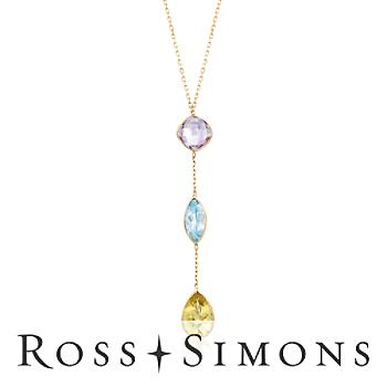 12.30 ct. t.w. Multi-Stone Drop Necklace in 14kt Yellow Gold
