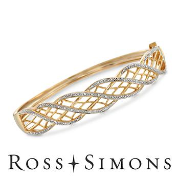 .16ct t.w. Diamond Openwork Bangle Bracelet in 14kt Gold Over Sterling