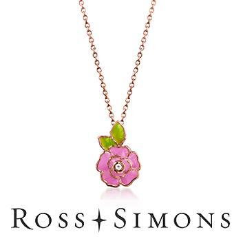 Child's Pink, Green Enamel Flower Necklace, White Topaz Over Sterling. 14