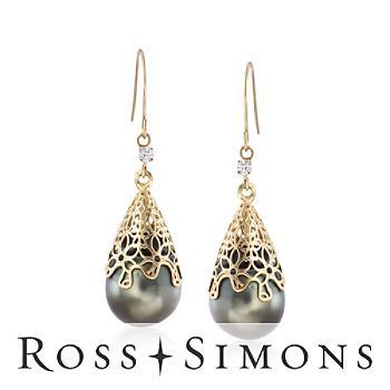11-12mm Black Cultured Tahitian Pearl Drop Earring, Diamonds in Gold