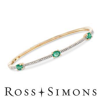 .90ct t.w. Emerald, .24ct t.w. Diamond Bangle Bracelet in Gold