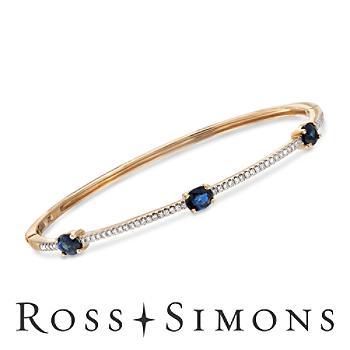 1.25ct t.w. Sapphire, .24ct t.w. Diamond Bangle Bracelet in Gold