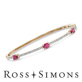 1.25ct t.w. Ruby, .24ct t.w. Diamond Bracelet in 14kt Yellow Gold