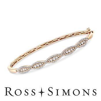 1.00ct t.w. Diamond Scalloped Bangle Bracelet in Gold. 7.5
