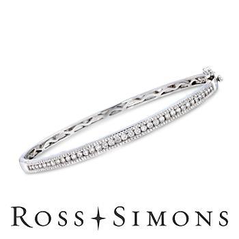 .99 ct. t.w. Diamond Bangle Bracelet in 14kt White Gold. 7