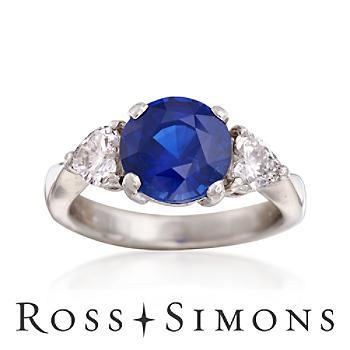 C. 1990 Vintage 2.50ct Sapphire, .51ct t.w. Diamond Ring. Size 3.5