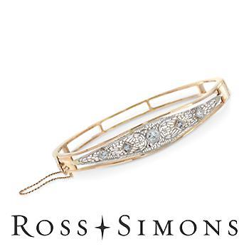 C. 1940 Vintage .50ct t.w. Diamond Filigree Bangle Bracelet. 8