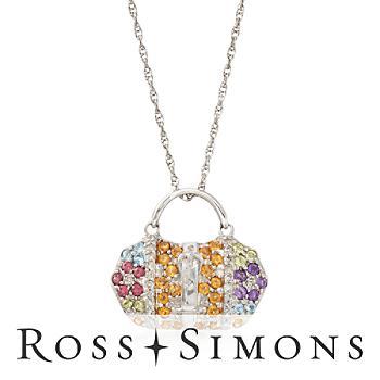 C. 2000 Vintage 1.40ct t.w. Multi-Stone, .25ct t.w. Diamond Handbag Charm Ne..