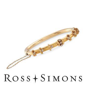 C. 1930 Vintage .25ct t.w. Diamond Floral Bangle Bracelet. 7