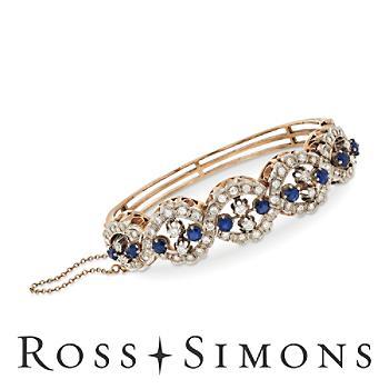 C. 1970 Vintage 3.00ct t.w. Sapphire, 2.25ct t.w. Diamond Bracelet. 7