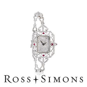 Women's 28x24mm 1.85ct t.w. Diamond, .19ct t.w. Ruby Watch in Gold