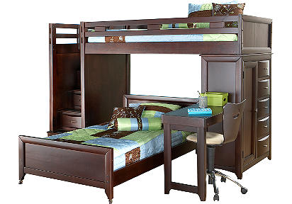 Ivy League Twin/Twin Step Loft w/Chest & Desk Attachment