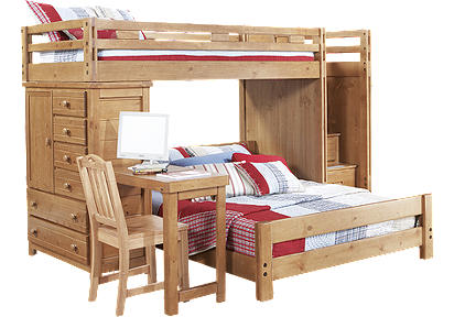 Creekside Taffy Twin/Full Step Bunk Bed w/Desk and Chest