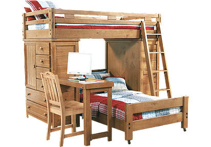 Creekside Taffy Twin/Twin Student Loft Bed w/Desk & Chests