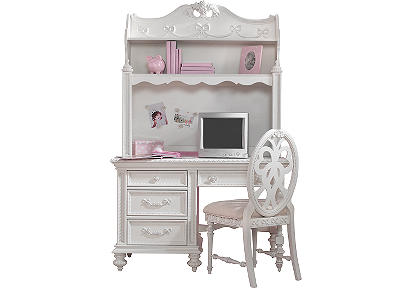 Disney Princess White 2 Pc Computer Desk and Hutch
