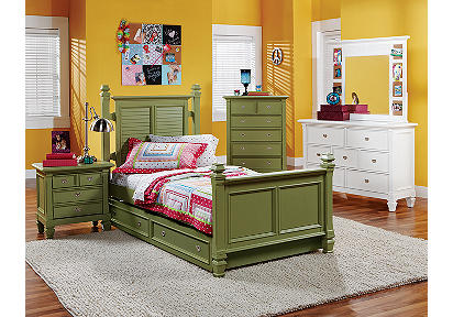 Belmar Green 4 Pc Twin Poster Bedroom Plus 19