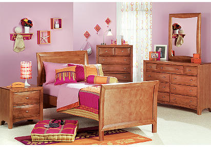 Ivy League Honey 4 Pc Twin Sleigh Bedroom Plus 19